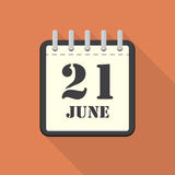 Calendar with 21 june in a flat design. Vector illustration. Calendar  with 21 june in a flat design. Vector illustration Royalty Free Stock Images