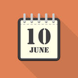 Calendar with 10 june in a flat design. Vector illustration Royalty Free Stock Photo