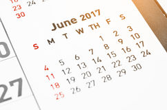 Calendar June 2017 page. Close up wall Calendar June 2017 page Royalty Free Stock Images