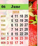 Calendar for June 2018 with ripe strawberry. Calendar for June 2018 with ribbon of fresh ripe strawberry. Calendar for office. Reminder for June 2018 stock illustration
