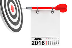 Calendar June 2016 with target. 3d Rendering. Calendar June 2016 on blank note paper with free space for your text with target. 3d Rendering Royalty Free Stock Photography