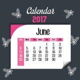 Calendar june 2017 template icon. Vector illustration design Royalty Free Stock Photos