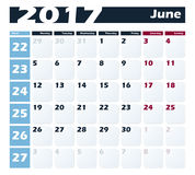 Calendar 2017 June vector design template. Week starts with Monday. European version Stock Photography
