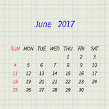 Calendar for June 2017. Vector illustration. Calendar for June 2017 on a paper in a cell. Week Starts Sunday. Vector Design Template Stock Images