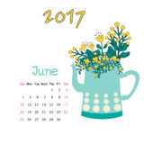 Calendar June 2017. Vector Template. Week starts Sunday. Vector nice calendar template for June 2017 Royalty Free Stock Images