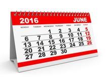 Calendar June 2016. Royalty Free Stock Photo