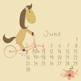 Calendar for June 2014. Year of the Horse. Calendar for June 2014. Calendar with the symbol of the eastern horoscope. Year of the Horse Stock Image