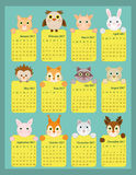 2017 calendar for kids, Animal calendar 2017, 12 month calendar for kids. Calendar 2017 for kids, Animal calendar 2017, 12 month calendar for kids Royalty Free Illustration