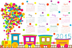 2015 calendar for kids with cartoon train Stock Image