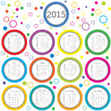 2015 Calendar for kids with colored circles. Over white Royalty Free Stock Images