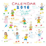 Calendar 2016 kids cover. Calendar cover design for the year 2016 on a whiteboard with the student profile llustrations for international schools Royalty Free Stock Images