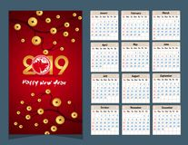 Calendar 2019 kinesiska kalender för lyckligt nytt år 2019 år av svinet Royaltyfri Bild