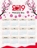 Calendar 2019 kinesiska kalender för lyckligt nytt år 2019 år av svinet Arkivfoto
