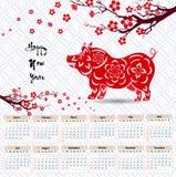 Calendar 2019 kinesiska kalender för lyckligt nytt år 2019 år av svinet Royaltyfria Bilder
