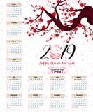 Calendar 2019 kinesiska kalender för lyckligt nytt år 2019 år av svinet Arkivfoton