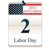 Calendar for Labor Day. Vector of Calendar for Labor Day with American flag Stock Photography