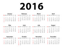 Calendar 2016 Landscape Stock Image