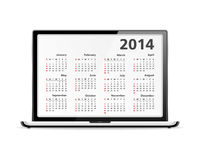 2014 Calendar in Laptop. 2014 calendar in the laptop Royalty Free Stock Images