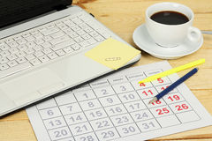 Calendar and laptop Royalty Free Stock Photography