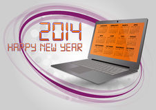 2014 calendar laptop. Illustration of 2014 calendar on screen of laptop Royalty Free Stock Photo