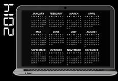 2014 calendar laptop. Illustration of 2014 calendar on screen of laptop Stock Image