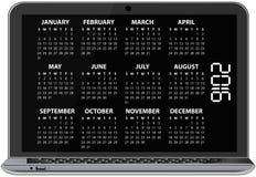 2016 calendar laptop. Illustration of 2016 calendar on screen of laptop Royalty Free Stock Photos
