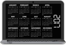 2017 calendar laptop. Illustration of 2017 calendar on screen of laptop stock illustration