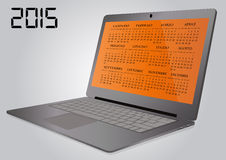 2015 calendar laptop. Illustration of 2015 calendar on screen of laptop in italian Royalty Free Stock Image