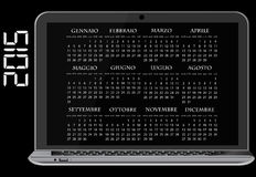 2015 calendar laptop. Illustration of 2015 calendar on screen of laptop in italian Royalty Free Stock Photo