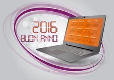 2016 calendar laptop. Illustration of 2016 calendar on screen of laptop in italian Stock Photo