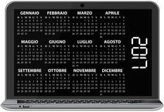 2017 calendar laptop. Illustration of 2017 calendar on screen of laptop, italian language stock illustration
