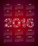 Calendar for 2016 with large numbers from snowflakes.  Royalty Free Stock Image