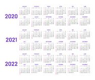 Calendar layouts for 2020, 2021, 2022 years. Calendar layouts set for 2020, 2021 and 2022 years. English template with basic grid on white background. Week royalty free illustration