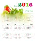 Calendar 2016. 2016 calendar with Lemon, tomatoes, mint Healthy Concepts Calendar vector illustration