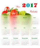 Calendar 2017. 2017 calendar with Lemon, tomatoes, mint Healthy Concepts Calendar royalty free illustration