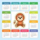 Calendar 2019. Pig. Cartoon piggy. Chinese horoscope. Week start. Calendar 2019. Leo. Cartoon lion. Zodiac horoscope. Week starts on Sunday Royalty Free Stock Photo