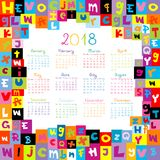 2018 Calendar with letters for schools. 2018 Calendar with colored letters for schools Royalty Free Stock Photography