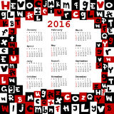 2016 calendar with letters. On white background vector illustration