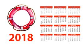 2018 calendar with Life buoy. Watercolor illustration Royalty Free Stock Photo