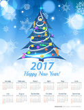 Calendar 2017 on Light blue blur background. Stock Images