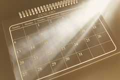 Calendar with Light Streaks Stock Photo