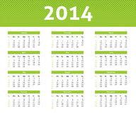 2014 calendar. In light style with green halftone effect vector illustration