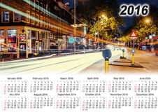 Calendar 2016. Lighted street at night. Beauty world Royalty Free Stock Photography