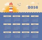 Calendar for 2016 with lighthouse, sunset, sea. Week Starts Sunday. EPS 10 stock illustration