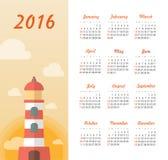 Calendar for 2016 with lighthouse, sunset. Week Starts Sunday. EPS 10 vector illustration