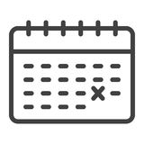 Calendar line icon, time and date, reminder. Sign vector graphics, a linear pattern on a white background, eps 10 Royalty Free Stock Photo