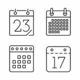 Calendar Line Icons Royalty Free Stock Images