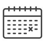 Calendar linjen symbol, tid och datumet, påminnelse stock illustrationer