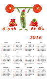 2016 Calendar.  Little funny people from vegetables and fruits. Stock Images