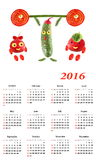 2016 Calendar.  Little funny people from vegetables and fruits. Stock Photography